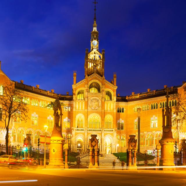 """Facade of Hospital de Sant Pau in night"" stock image"