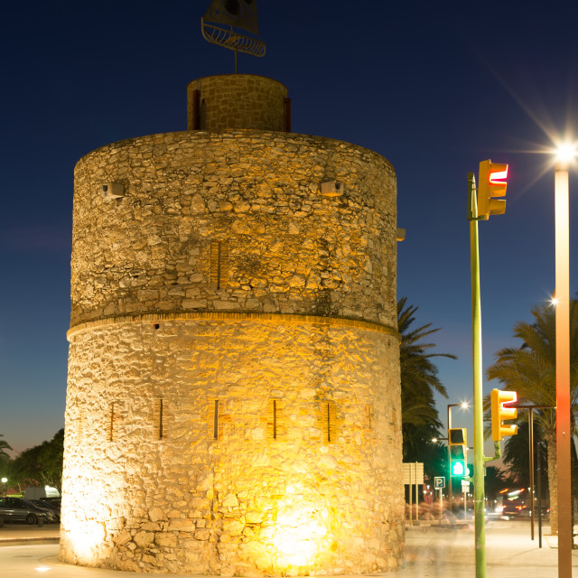 """Old tower at seaside of Vilanova i la Geltru"" stock image"