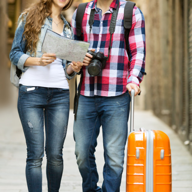 """""""travelers going to the hotel"""" stock image"""