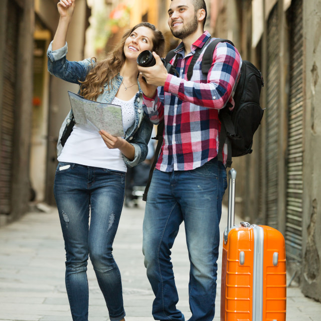 """""""Happy girl points the direction"""" stock image"""