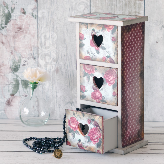 """A shabby chic mini chest of drawers"" stock image"
