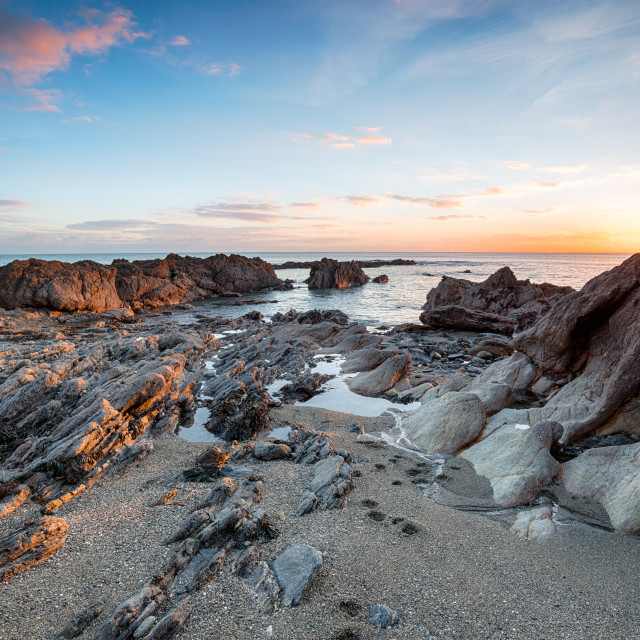 """""""Sunset at Hemmick Beach in Cornwall"""" stock image"""