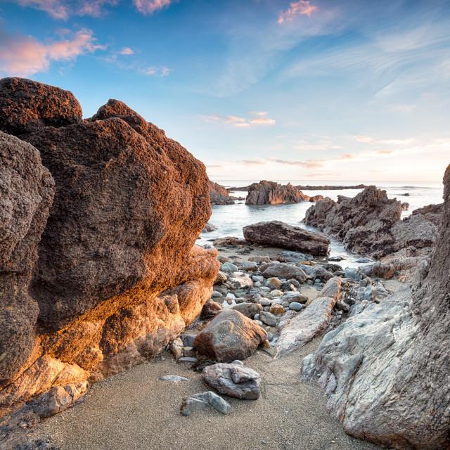 """Rocks at Hemmick Beach"" stock image"