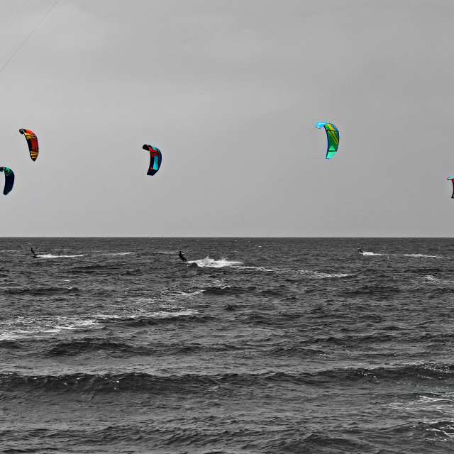 """Kites on the horizon"" stock image"