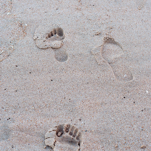 """Footprints on the beach"" stock image"