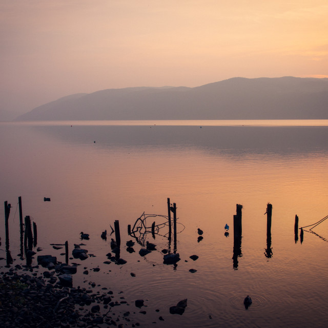 """Loch Ness Sunset"" stock image"