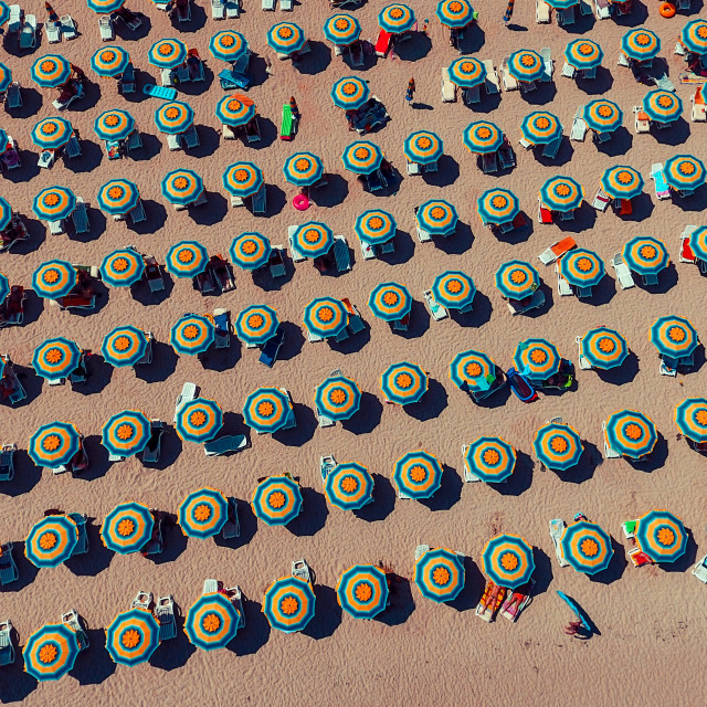 """Aerial View of Umbrellas in a Beach"" stock image"