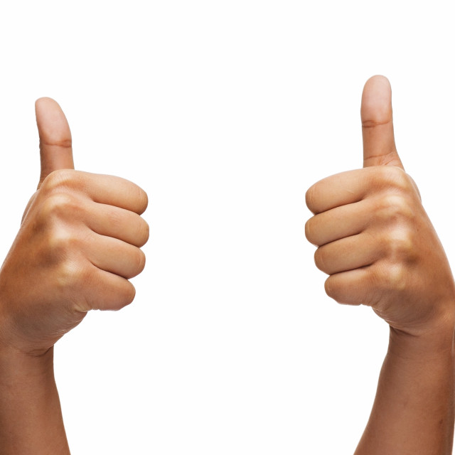 """woman hands showing thumbs up"" stock image"