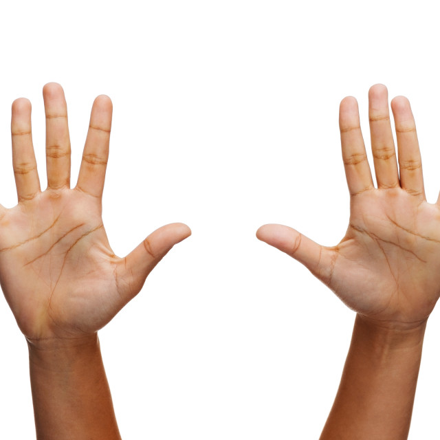"""two woman hands waving hands"" stock image"