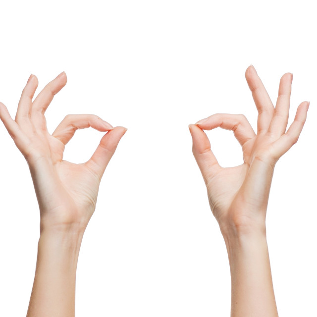 """woman hands showing ok sign"" stock image"