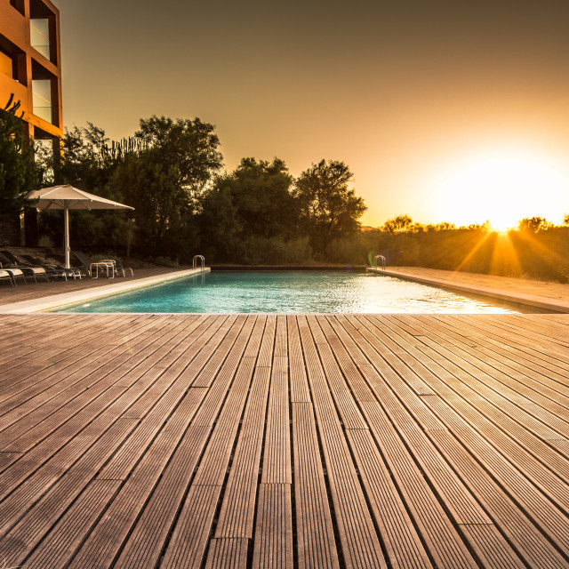 """Golden Hour Pool"" stock image"