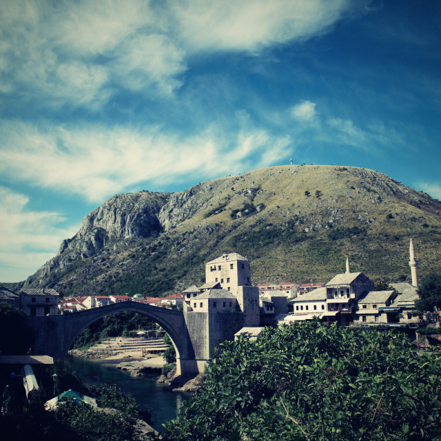 """old bridge in Mostar - protected by UNESCO"" stock image"