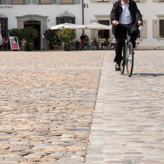"""Man on bike in Basel"" stock image"