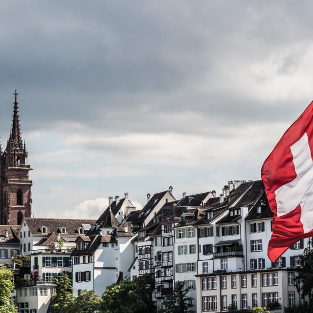 """Basel & Swiss flag"" stock image"