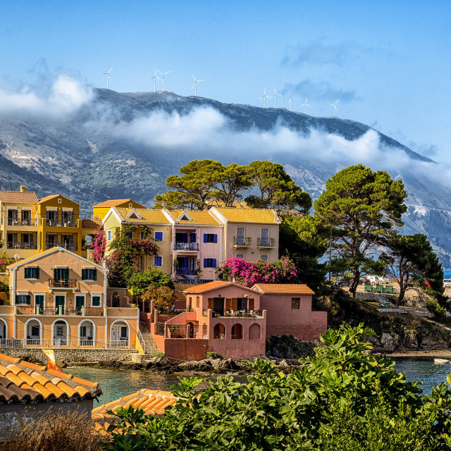 """Low clouds over Assos"" stock image"