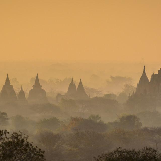 """Sunrise over Bagan"" stock image"