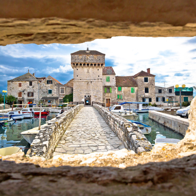 """Kastel Gomilica through stone window view"" stock image"