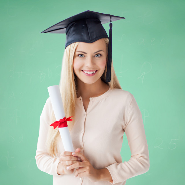 """""""happy student girl in bachelor cap with diploma"""" stock image"""