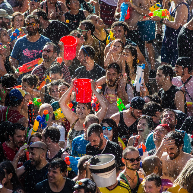 """Summer water fight"" stock image"