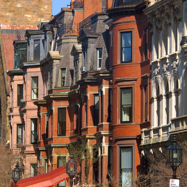 """Red brick apartment buildings"" stock image"