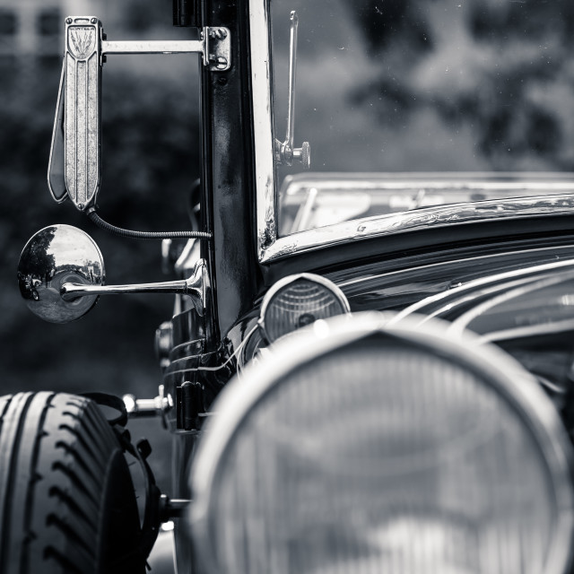 """Retro vintave car framed black and white"" stock image"