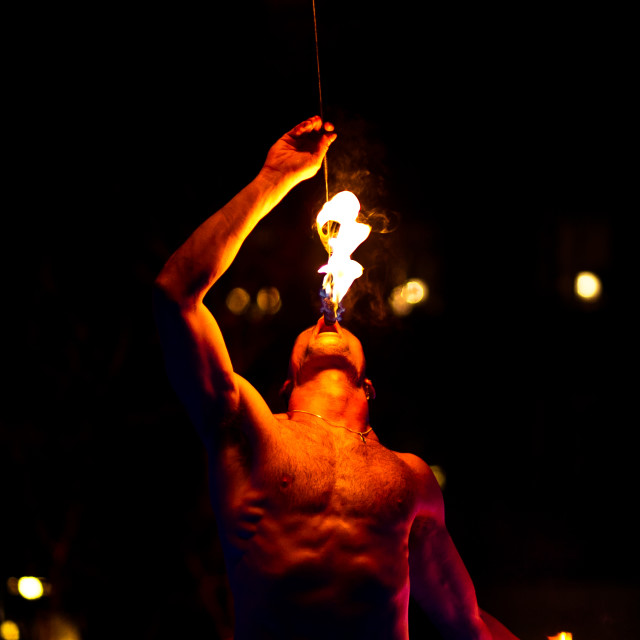 """""""Breathing fire"""" stock image"""