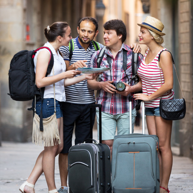 """Company of impressed travelers"" stock image"