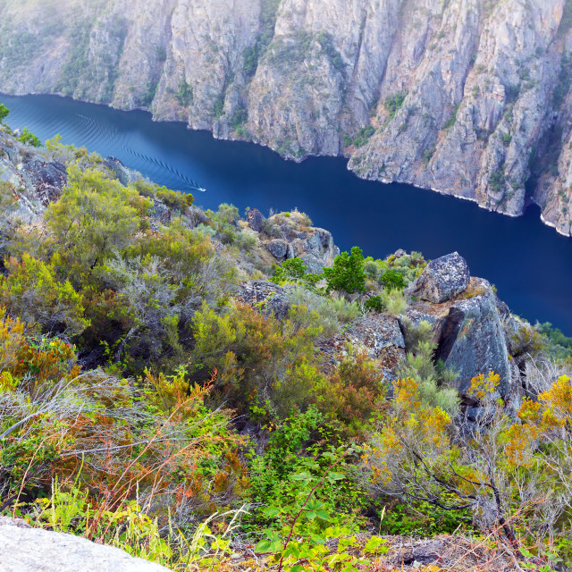 """""""Sil river with high rocky banks"""" stock image"""