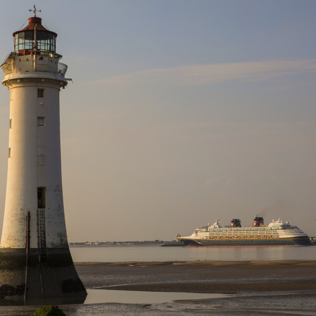 """Disney Magic & New Brighton Lighthouse"" stock image"