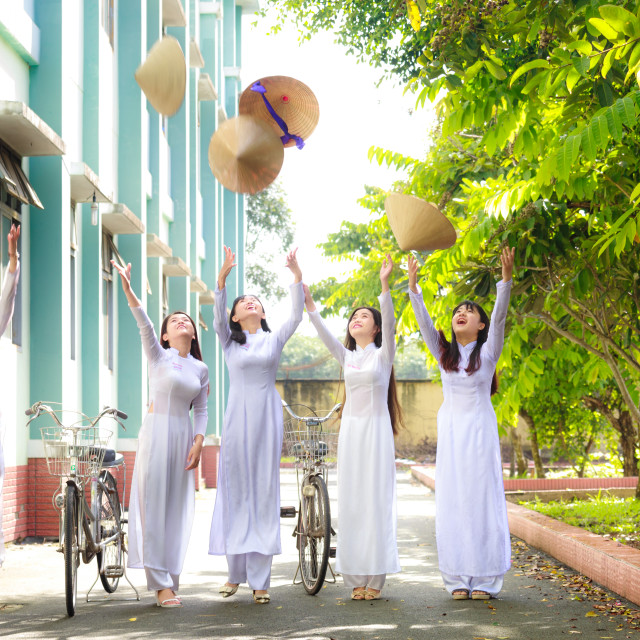 """Viet Nam female students in traditional costumes"" stock image"