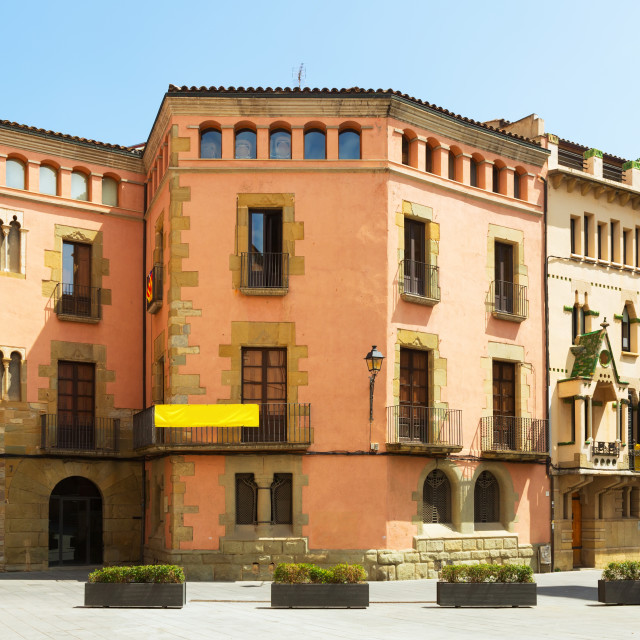 """""""picturesque houses of Catalan town. Vic"""" stock image"""