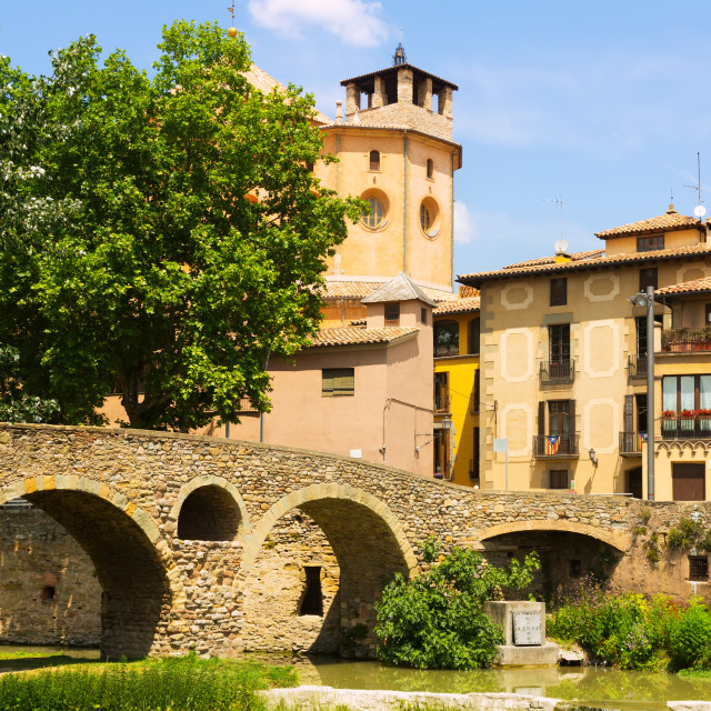 """""""stone bridge Cathedral in Vic. Catalonia, Spain"""" stock image"""