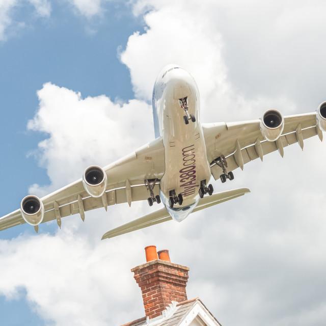 """A380 landing"" stock image"