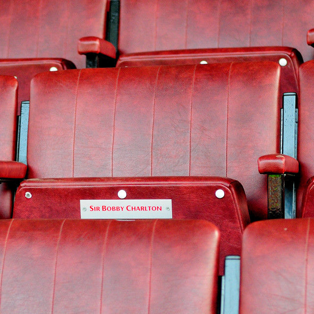 """Sir Bobby Charlton seat Old Trafford"" stock image"