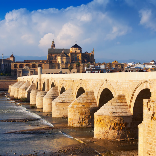 """Roman bridge and Mosque-cathedral of Cordoba"" stock image"
