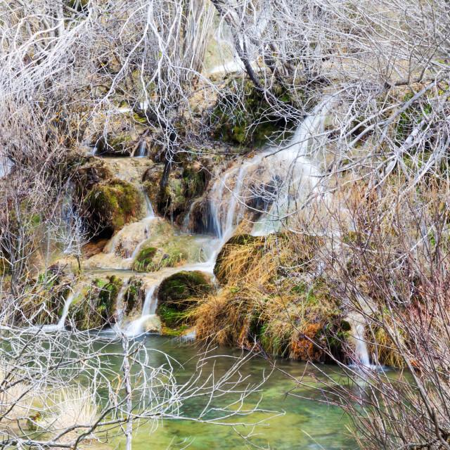 """Mountains stream through moss stones"" stock image"