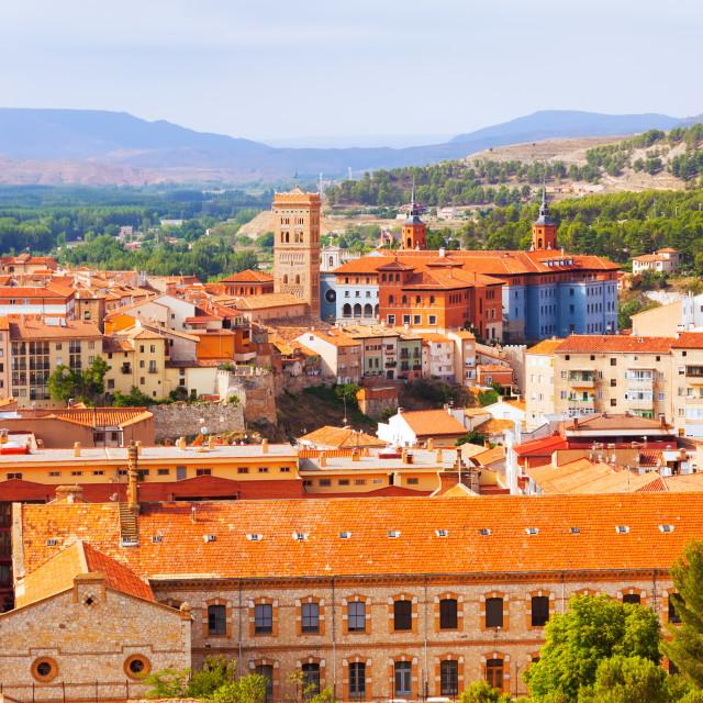 """Teruel with landmarks. Aragon"" stock image"