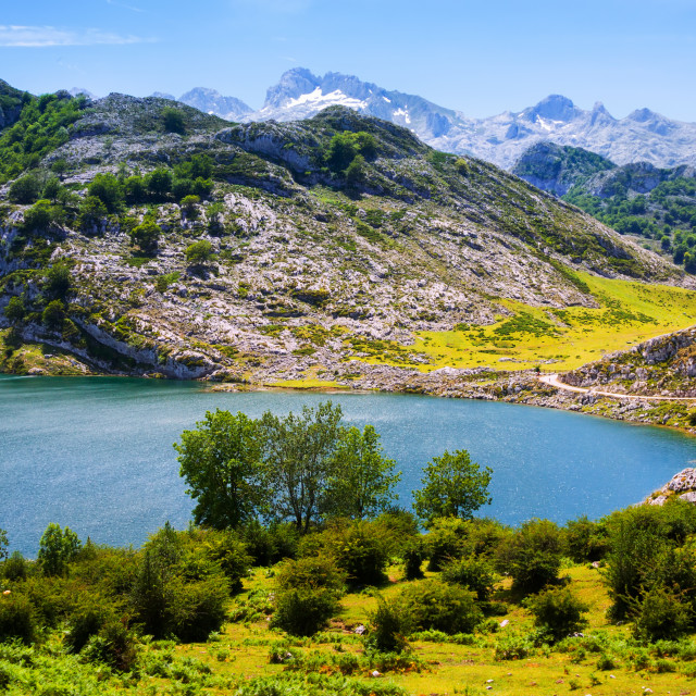 """lake Enol in summer. Asturias"" stock image"
