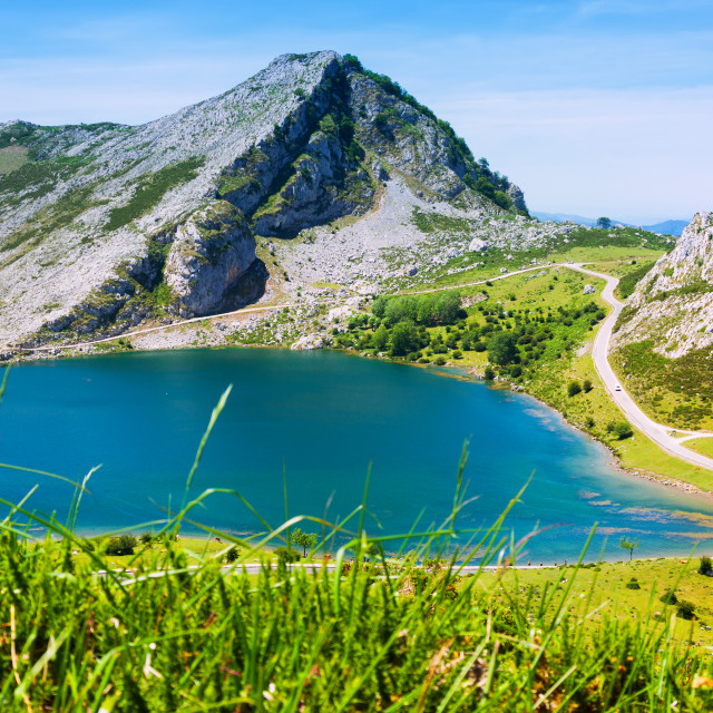 """""""beautiful summer mountains landscape with lake"""" stock image"""