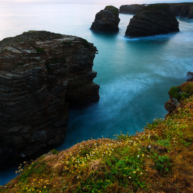 """Cliffs at Atlantic Ocean coast in twilight"" stock image"