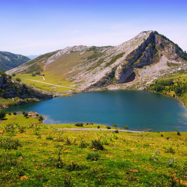 """View of Enol lake in summer. Asturias"" stock image"