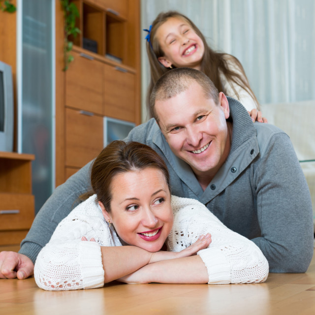 """""""Portrait of mother, father and girl"""" stock image"""
