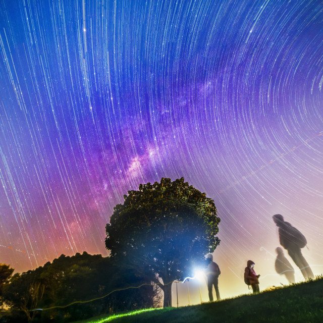 """Galactic core and the star trails"" stock image"