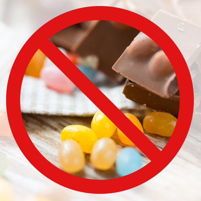 """""""close up of candies and chocolate behind no symbol"""" stock image"""