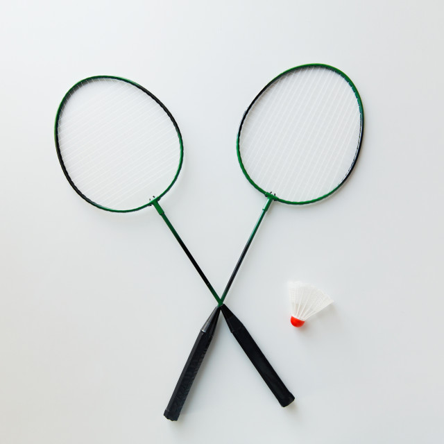 """close up of badminton rackets with shuttlecock"" stock image"