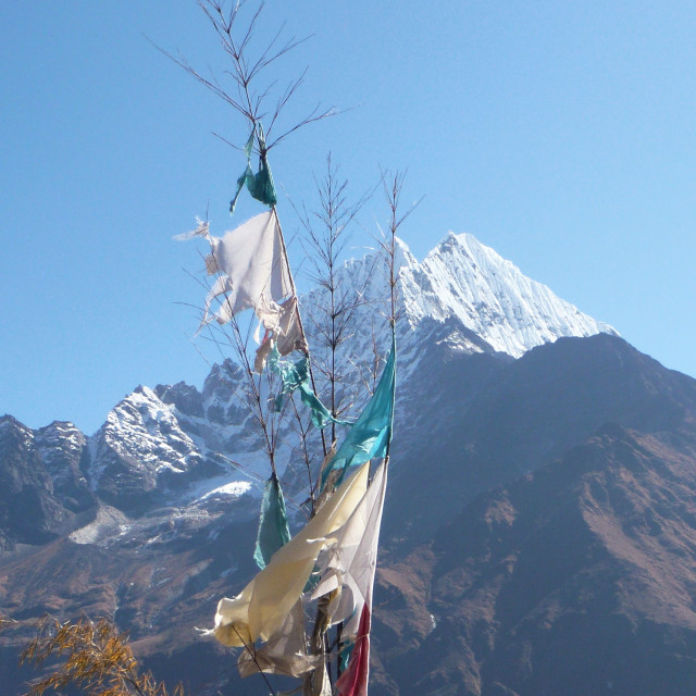 """""""Prayer flags and mountain"""" stock image"""