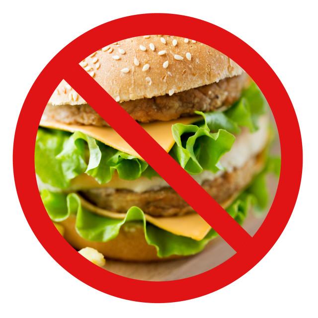 """""""close up of hamburger behind no symbol"""" stock image"""