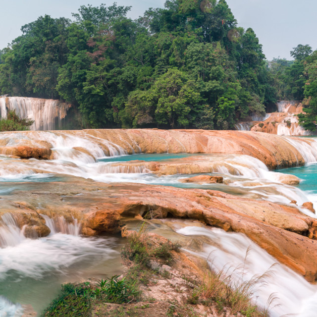 """""""Landscape shot of the Blue Waters, Chiapas in Mexico"""" stock image"""