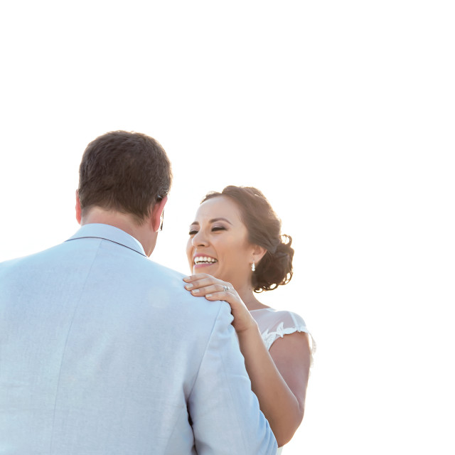 """""""Wedding couple in Cancun, Mexico dancing"""" stock image"""