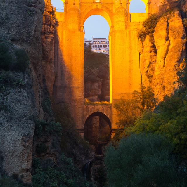 """""""Medieval bridge in evening. Ronda"""" stock image"""